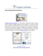 Supplier of Kaolin-Best Price.pdf