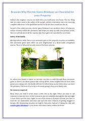 Reasons Why Electric Gates Brisbane are Essential for your Property.docx